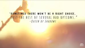 "Sometimes there won't be a right choice, just the best of several bad  options."" - Sarah J. Maas 